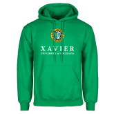 Kelly Green Fleece Hoodie-Xavier Seal Vertical