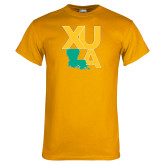 Gold T Shirt-XULA with Louisiana Vertical