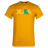 Gold T Shirt-XULA with Louisiana Horizontal