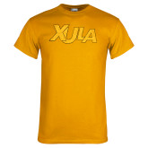 Gold T Shirt-XULA Wordmark Distressed