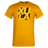 Gold T Shirt-XULA with Square Distressed