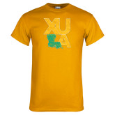 Gold T Shirt-XULA with Louisiana Vertical Distressed