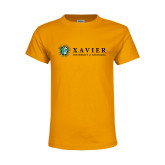 Youth Gold T Shirt-Xavier Seal Horizontal