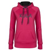 Ladies Pink Raspberry Tech Fleece Hoodie-XULA Glitter