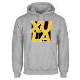 Grey Fleece Hoodie-XULA with Square