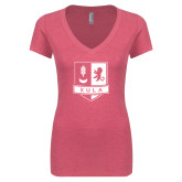 Next Level Ladies Vintage Pink Tri Blend V Neck Tee-Primary Mark