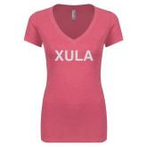 Next Level Ladies Vintage Pink Tri Blend V Neck Tee-XULA Glitter
