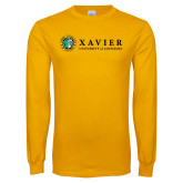Gold Long Sleeve T Shirt-Xavier Seal Horizontal