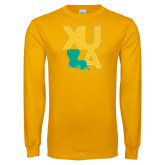 Gold Long Sleeve T Shirt-XULA with Louisiana Vertical