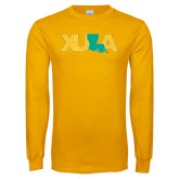Gold Long Sleeve T Shirt-XULA with Louisiana Horizontal