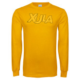 Gold Long Sleeve T Shirt-XULA Wordmark Distressed