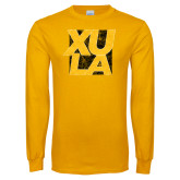 Gold Long Sleeve T Shirt-XULA with Square Distressed