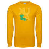 Gold Long Sleeve T Shirt-XULA with Louisiana Vertical Distressed