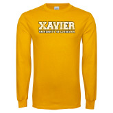 Gold Long Sleeve T Shirt-Xavier Univeristy of Louisiana Distressed