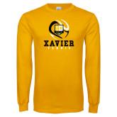Gold Long Sleeve T Shirt-Tennis Design