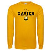 Gold Long Sleeve T Shirt-Volleyball Design