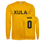 Gold Long Sleeve T Shirt-XULA, Custom Tee w/ Name and #
