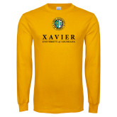 Gold Long Sleeve T Shirt-Xavier Seal Vertical