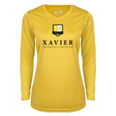 Ladies Syntrel Performance Gold Longsleeve Shirt-Stacked Xavier