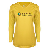 Ladies Syntrel Performance Gold Longsleeve Shirt-Xavier Seal Horizontal