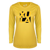 Ladies Syntrel Performance Gold Longsleeve Shirt-XULA with Square