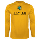Performance Gold Longsleeve Shirt-Xavier Seal Vertical
