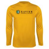 Performance Gold Longsleeve Shirt-Xavier Seal Horizontal