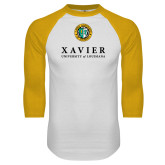 White/Gold Raglan Baseball T Shirt-Xavier Seal Vertical