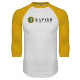 White/Gold Raglan Baseball T Shirt-Xavier Seal Horizontal