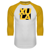 White/Gold Raglan Baseball T Shirt-XULA with Square