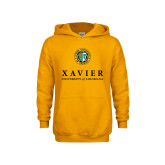 Youth Gold Fleece Hoodie-Xavier Seal Vertical