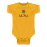 Gold Infant Onesie-Xavier Seal Vertical