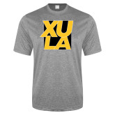 Performance Grey Heather Contender Tee-XULA with Square