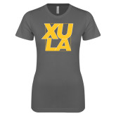 Next Level Ladies SoftStyle Junior Fitted Charcoal Tee-XULA with Square