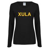 Ladies Black Long Sleeve V Neck Tee-XULA