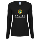 Ladies Black Long Sleeve V Neck Tee-Xavier Seal Vertical