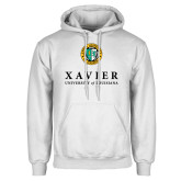 White Fleece Hoodie-Xavier Seal Vertical