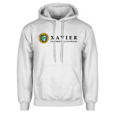 White Fleece Hoodie-Xavier Seal Horizontal