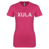 Ladies SoftStyle Junior Fitted Fuchsia Tee-XULA Glitter
