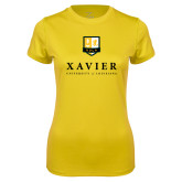 Ladies Syntrel Performance Gold Tee-Stacked Xavier
