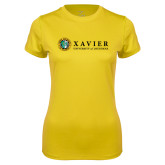 Ladies Syntrel Performance Gold Tee-Xavier Seal Horizontal