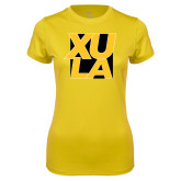 Ladies Syntrel Performance Gold Tee-XULA with Square