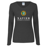 Ladies Dark Heather Long Sleeve V Neck Tee-Xavier Seal Vertical