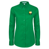 Ladies Kelly Green Twill Button Down Long Sleeve-Primary Mark