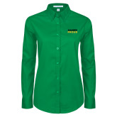 Ladies Kelly Green Twill Button Down Long Sleeve-Xavier Proud