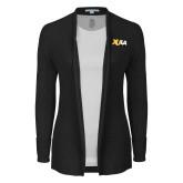 Ladies Black Open Front Cardigan-XULA Wordmark