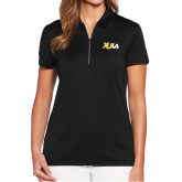 Ladies Callaway Tulip Sleeve Black Zip Polo-XULA Wordmark