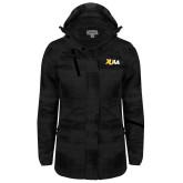 Ladies Black Brushstroke Print Insulated Jacket-XULA Wordmark