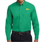 Kelly Green Twill Button Down Long Sleeve-XULA Wordmark