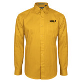Gold Twill Button Down Long Sleeve-XULA